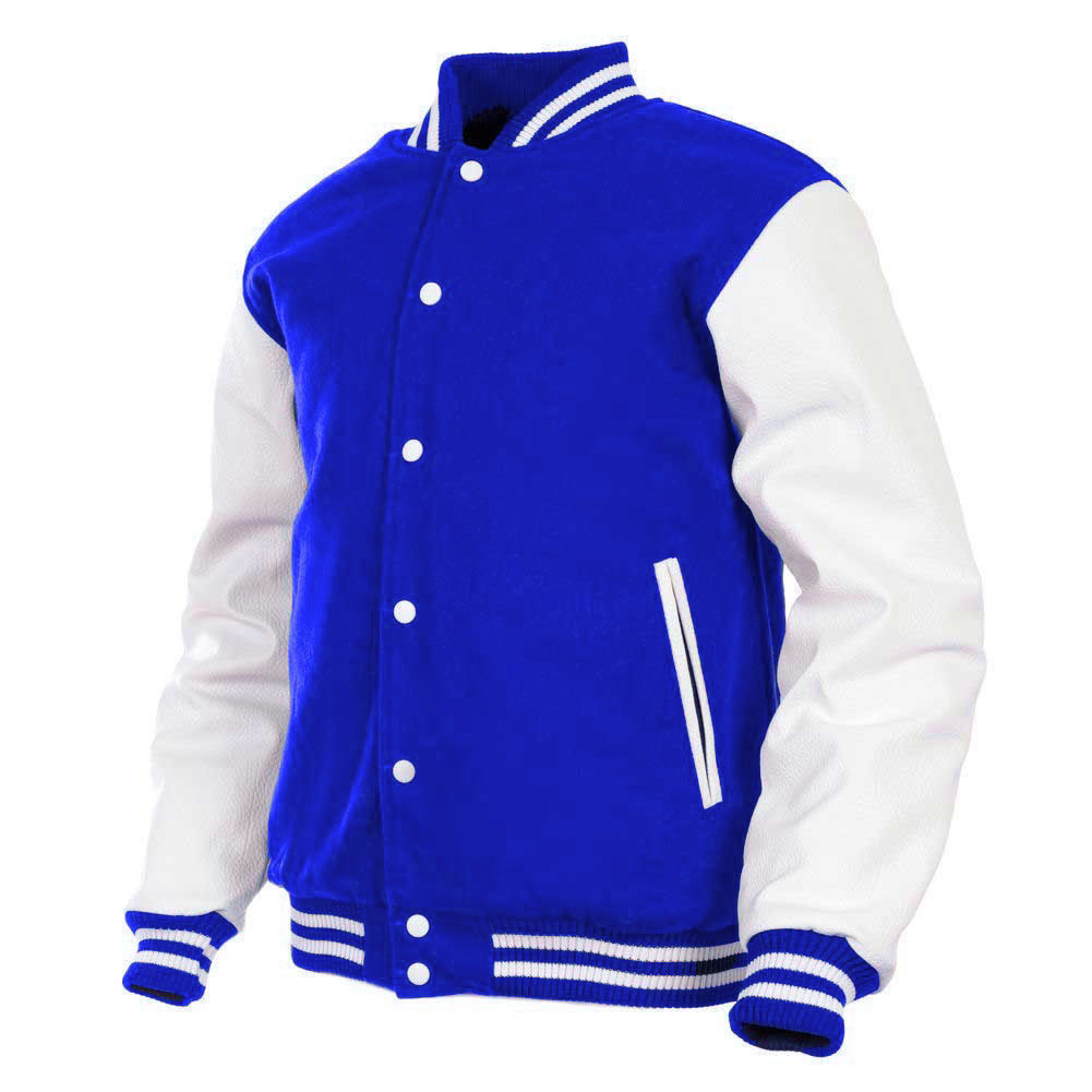 00be9036 Mens Genuine Leather Sleeve and Wool Blend Letterman College Varsity Jackets